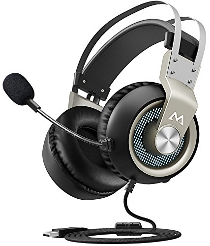 51i6Xzzl4lL - Mpow EG3 Gaming Headset, 7.1 Surround Sound Gaming Headphones, 50mm Driver, Stereo USB Headset with Noise Cancelling Mic, Over Ear Soft Memory Earmuff, LED Light, Easy Volume/Mic Control for PC, PS4