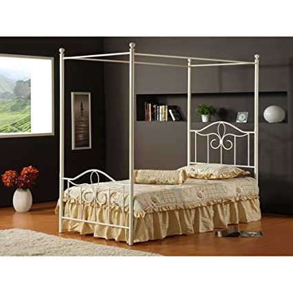 hillsdale furniture 1354bfp westfield canopy bed set full off white - Canopy Bedroom Sets