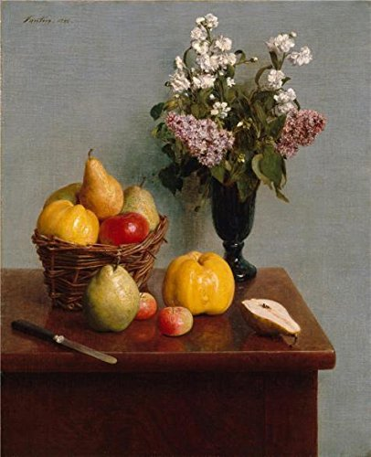 Oil Painting 'Henri Fantin-Latour-Still Life With Flowers And Fruit,1866' Printing On High Quality Polyster Canvas , 18x22 Inch / 46x56 Cm ,the Best Gym Decor And Home Decor And Gifts Is This High Definition Art Decorative Prints On