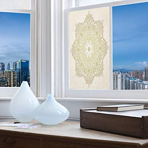 Decorative Privacy Window Film,Gold Mandala,for Fome Bedroom Kitchen Office,Antique Lace Pattern Blooming Asian Garden Theme Filigree,24''x48''