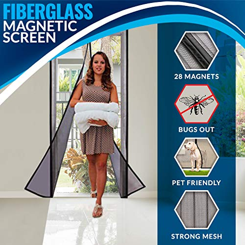 Portable Magnetic Screen Door Curtain - Full Frame Velcro & Fiberglass Mesh.by Outdew This Instant Retractable Bug Screen Opens and Closes Magically. Fits Doors up to 34