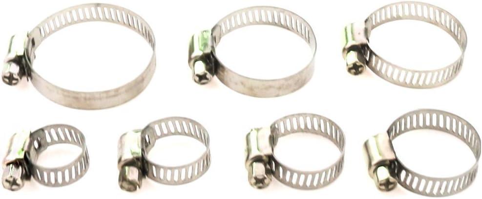 Schlauchschellen,Schlauchschellen Clips 60 St/ücke 8-38mm Einstellbare Edelstahl Schlauchschelle Schneckenantrieb Rohre Rohrschelle in PP Box
