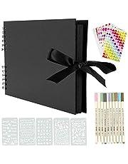 YILEEY Fotoalbum om zelf vorm te geven, scrapbook 80 zwarte pagina's fotoboek om in te plakken, 28 x 21 cm fotoalbums, doe-het-zelf, cadeau, scrapbooking, set met pennen, sjablonen, stickers, fotohoeken, herbruikbaar
