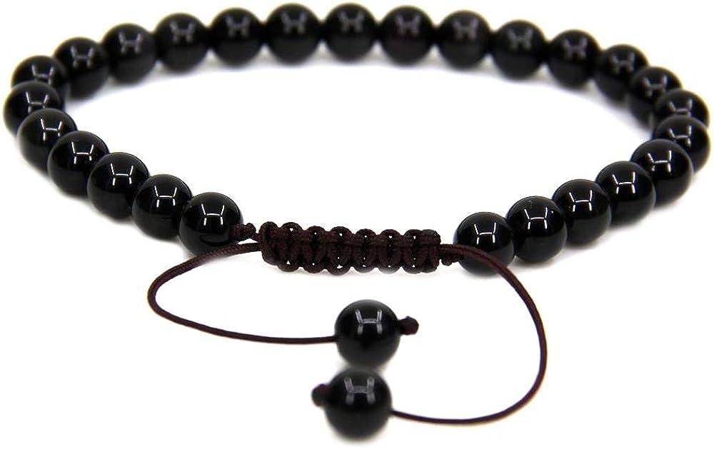 AAA Natural Negro Turmalina borlas Macrame la pulsera ajustable | 7.5? Longitud de la pulsera Chakra Reiki con cable de piedras preciosas | Trenzada pulsera unisex | 8mm granos redondos