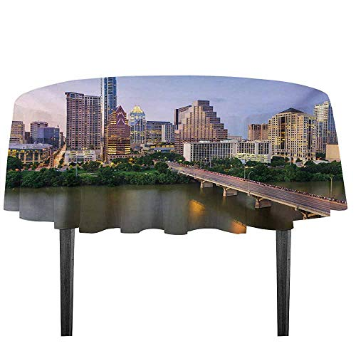 kangkaishi Modern Leakproof Polyester Tablecloth Austin Texas American City Bridge Over The Lake Skyscrapers USA Downtown Picture Outdoor and Indoor use D59.05 Inch Multicolor]()