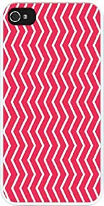 Rikki KnightTM Hot Pink Chevron Zig Zag Stripes Design iPhone 4 & 4s Case Cover (White Rubber with bumper protection) for Apple iPhone 4 & 4s
