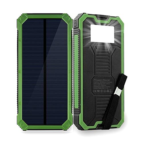Solar Phone Charger Friengood 15000mAh Portable Solar Power Bank with Dual USB Ports, Waterproof Solar Battery Charger with 6 LED Flashlight Light for iPhone, iPad, Cellphone and More (Green) ()
