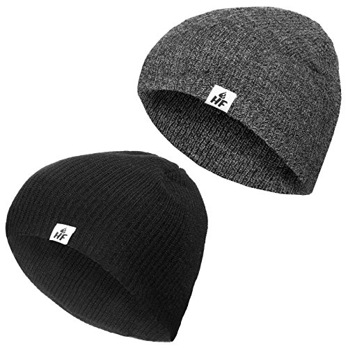 - Hot Feet Men's 2 Pack, Thermal Beanie Cap (2 Pack)