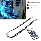 LEDdess PC RGB LED Light Strip with RF Wireless Remote Control via Magnetic for Computer Case Mid Tower (60cm, 5050 SMD 30leds, SATA Contact, H Series)