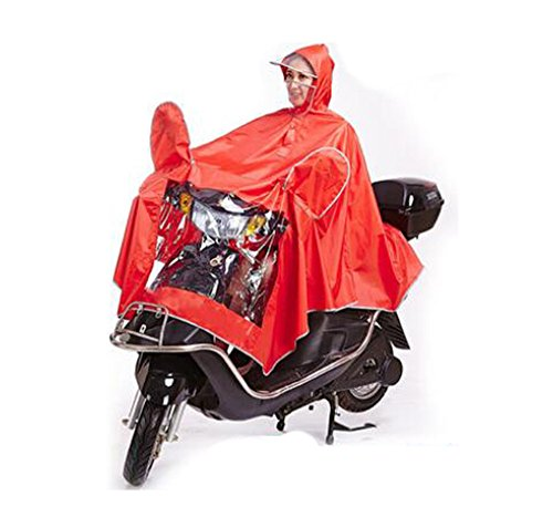 Biscount Bike Waterproof Rain Coat Cycle Windproof Raincoat Bicycle Cape Cycling Poncho Two Face Masks & Reflective Stripe-Red ()