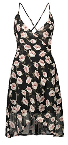 Bohemia Backless Floral Tang Line Dress Big Flare Print Womens Flowy A Black2 x4qpxIXw