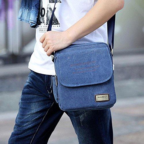 amp; Bolso hombre Fabric Azul AOLVO marrón para café al Canvas hombro TqZt5Rwx