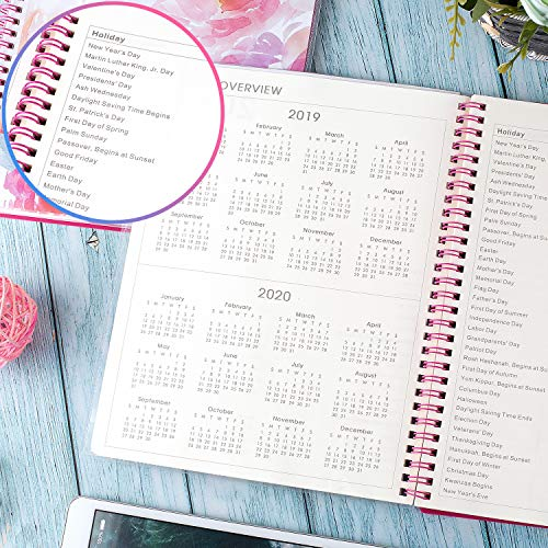 2019 Planner - Planner 2019, Weekly & Monthly Planner, 12 Monthly Tabs, Twin Wire Binding, Clear Cover Pockets, 8