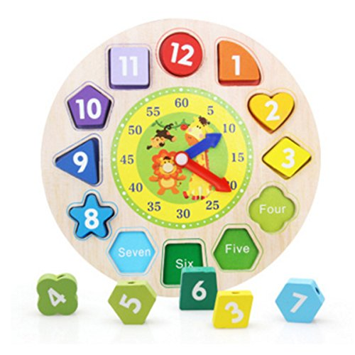 CiCy Wooden Educational Toys Shapes Sorting Teaching Clock Lacing Beads Games for Kids by CiCy