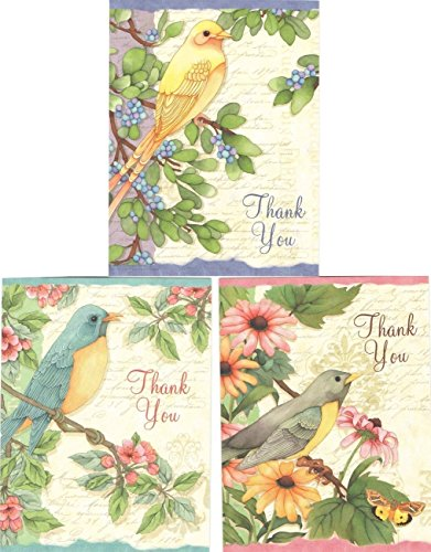 "Joy Hall Winged Floral Thank You Cards (8 Cards; 4"" x 5.25""; White Envelopes)"