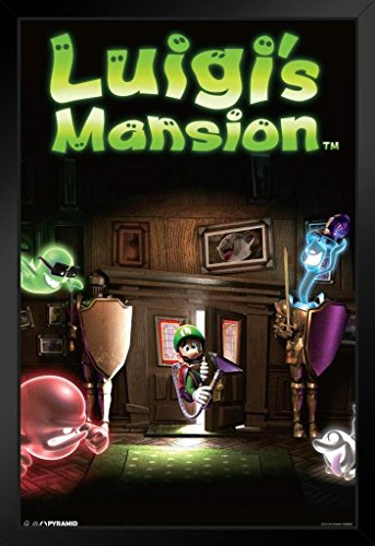 Pyramid America Luigis Mansion Video Game Black Wood Framed Poster 14×20 inch