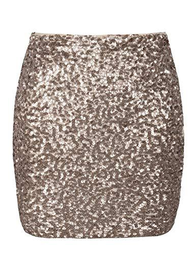 (PrettyGuide Women's Sequin Skirt Stretchy Bodycon Plus Size Glitter Mini Skirt 3XL Champagne)