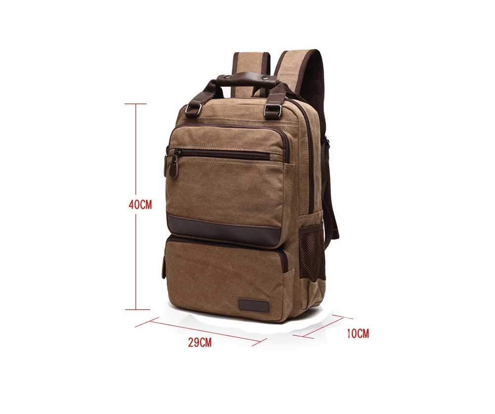 Amyannie Pure Color Simple Canvas Backpack Travel Outdoor Mens Retro Large-Capacity Canvas Shoulder Bag