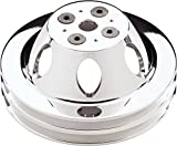 """NEW BILLET SPECIALTIES POLISHED 2 V-BELT GROOVE WATER PUMP PULLEY FOR SBC SHORT WATER PUMPS, 6 7/16"""", SMALL BLOCK CHEVY, 6061-T6 ALUMINUM, MIRROR FINISH"""