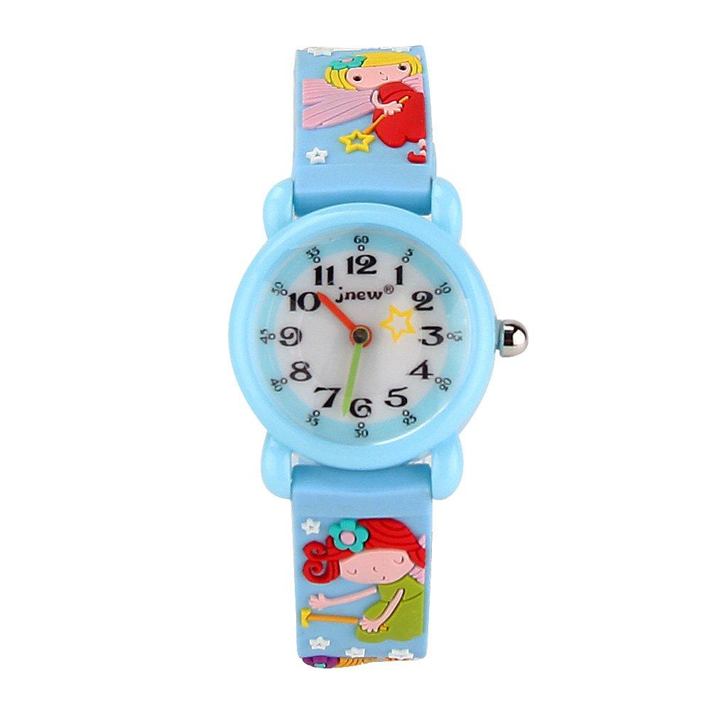 Eleoption Waterproof Kids Watches Children Analog Quartz Wristwatches 3D Cute Cartoon Design with Super Soft Silicone Band Shock Resistant for Boys Girls as Time Teacher (Fairy-Blue)