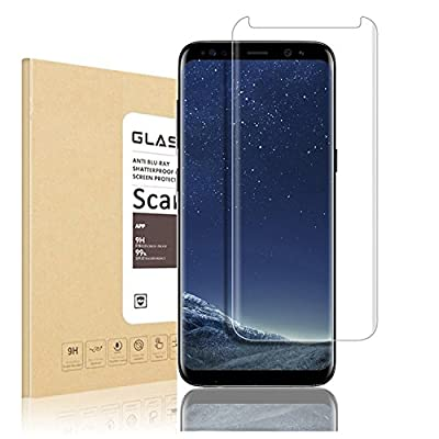 Galaxy S8 Plus 3D Curved Tempered Glass Screen Protector, Scarer Exact Design 100% Full Screen Coverage, HD Clear, Anti-Scratch, Anti-Fingerprint, Case Friendly, Bubble Free