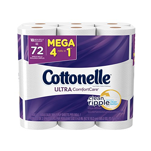 Cottonelle Ultra ComfortCare Mega Roll Toilet Paper, Bath Tissue, 18 Count (Pack of 2)