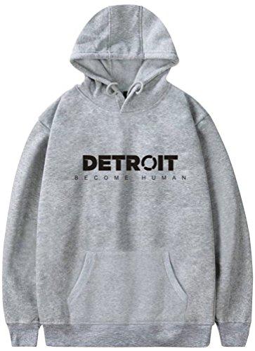 Detroit Human Grigio Stampa Felpe Uomo Con Cappuccio Sportive Per Stampato Di 3d Oliphee 2 Become wXaq0O0d