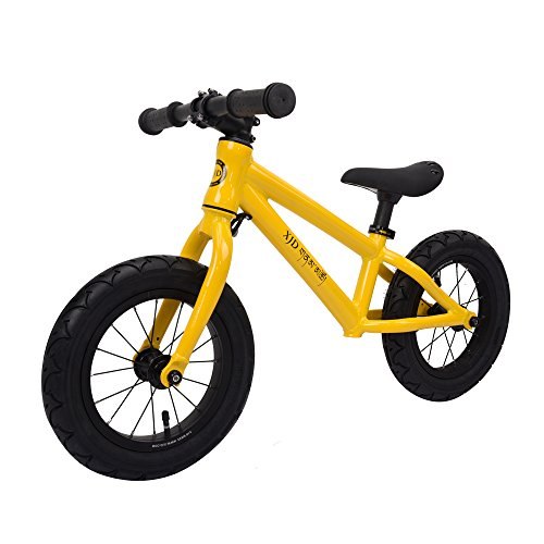XJD Balance Bike For Kids Ages 3 to 6 Years Lightweight Aluminum Frame No-Pedal Push Bicycle Adjustable Saddle, 12 Air Tires (Yellow)