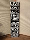 Adonis554Dan Sing Dance Live Laugh Love Dream Play Give Smile Cherrish Family Farmhouse Fixer Top Style Art Wall Black Large Wood Sign