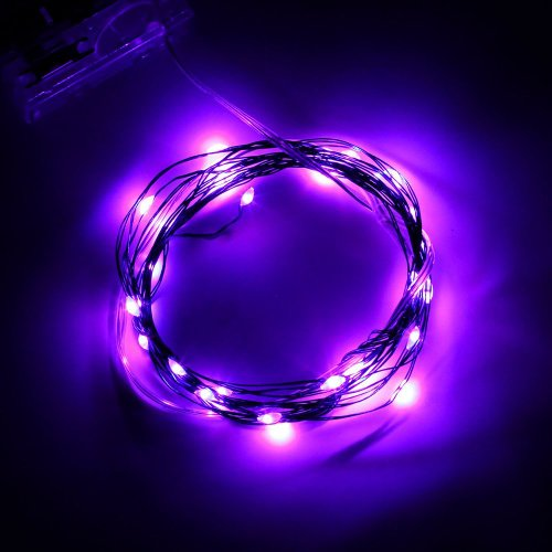 SINOLLC Purple Soft Wire LED Light String 2m 20 LED Bulbs Starry Starry Light Indoor String Light Outdoor Rope Lights 3 AA Batteries Operated LED Fairy Light