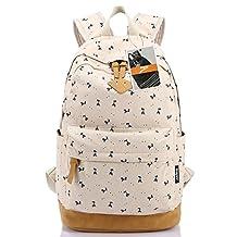 Leaper Lightweight Canvas Laptop Backpack Cute School Bags Deer Beige