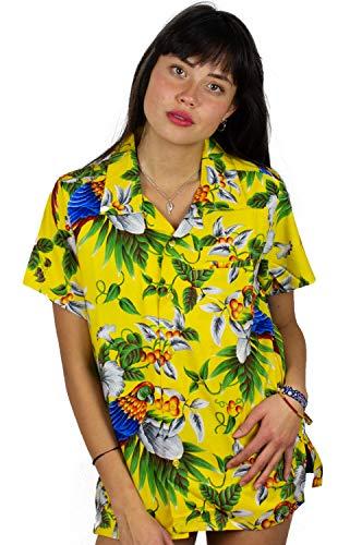 Funky Hawaiian Blouse Shirt, Cherry Parrot, Yellow, M ()