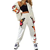Carolilly - Chándal deportivo para mujer con estampado de mariposa, con capucha de manga larga con cremallera…