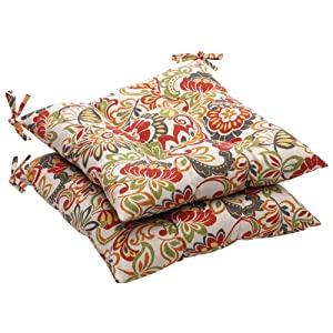 Pillow Perfect Indoor/Outdoor Multicolored Modern Floral Tufted Seat Cushion, 2-Pack