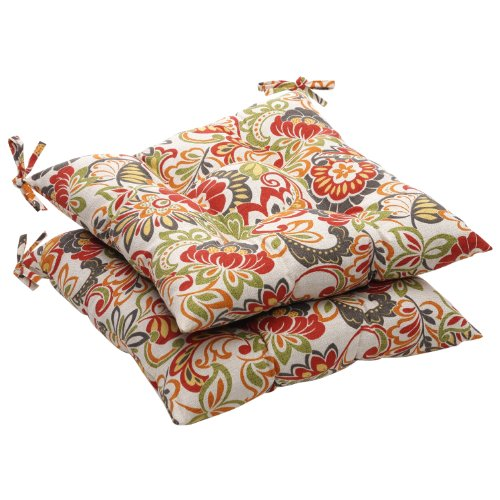 - Pillow Perfect Indoor/Outdoor Multicolored Modern Floral Tufted Seat Cushion, 2-Pack