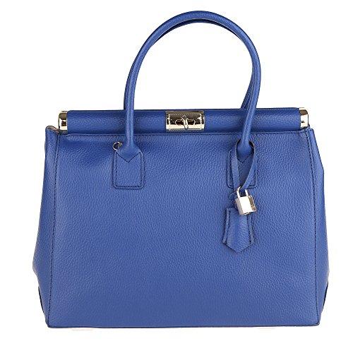 Chicca Borse Mujer Bolso con Correa de Hombro en Cuero Genuino Made in Italy 35x28x16 Cm Azul real