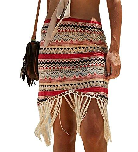 Jeasona Women's Summer Beach Skirt (Red, M)