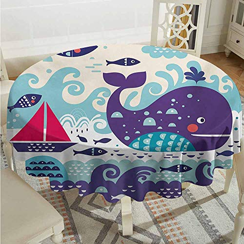 ScottDecor Patterned Round Tablecloth Purple Marine Traffic with Whale Sailboat and Fish with Cloud and Waves Nautical Life Print Purple Table Cover Diameter 70