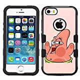 for iPhone SE/5/5s, Hard+Rubber Dual Layer Hybrid Heavy-Duty Rugged Armor Cover Case - Sponge Bob Patrick Star #W