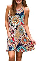 SimpleFun Women's Summer Sleeveless Bohemian Print Tunic Swing Loose Pockets T-Shirt Dress