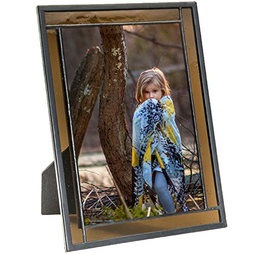 J Devlin Colored Easel Back Series - Stained Glass 5x7 Picture Frame Displays Horizontally or Vertically (Brown) (Lodge Picture Frame)