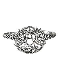 Sterling Silver Heart Pentacle Pentagram Bracelet Wiccan Jewelry