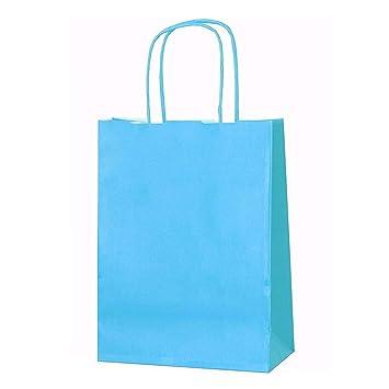 20 bolsas de papel kraft con asas trenzadas e ideales para utilizar en fiestas o para hacer regalos, azul, XS