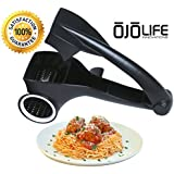 Super Durable Premium Quality Rotary Cheese Grater from OjoLife Innovations - Multi-Use - Razor Sharp Stainless Steel Blades - BPA Free ABS Plastic - Complemented With E-CookBook - 100% Satisfaction