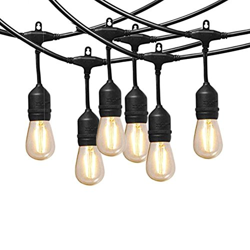 60 Watt LED Outdoor String Lights with Hanging Socket Weatherproof Dimmable Vintage Edison Bulb Commercial Grade Patio Lights Extendable Strand for Cafe,Bistro and Backyard ()