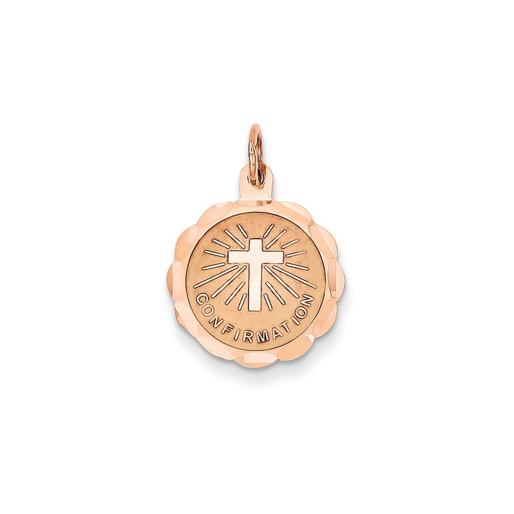 14k Rose Gold Engravable Confirmation Disc Charm (0.9IN long x 0.6IN wide) by Jewelry Pot