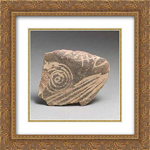 (Minoan Culture - 20x20 Gold Ornate Frame and Double Matted Museum Art Print - Terracotta Vessel Fragment with Spiral and Linear Motifs)