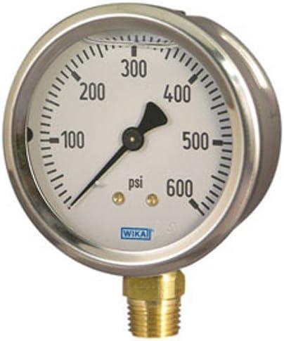 Hydraulic Gauge 3000 psi LM 2-1//2 in Face Wika 8345813 1//4 NPT in Port Size Lower Mount Filling: Glycerin