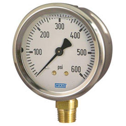 Wika 9767088 - Hydraulic Gauge - 200 psi, 2-1/2 in Face, Lower Mount (LM), 1/4 NPT in Port Size, Filling: Glycerin