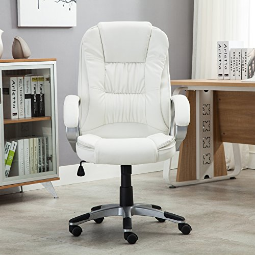 Belleze Ergonomic Office PU Leather Chair Executive Computer Hydraulic, White by Belleze (Image #2)